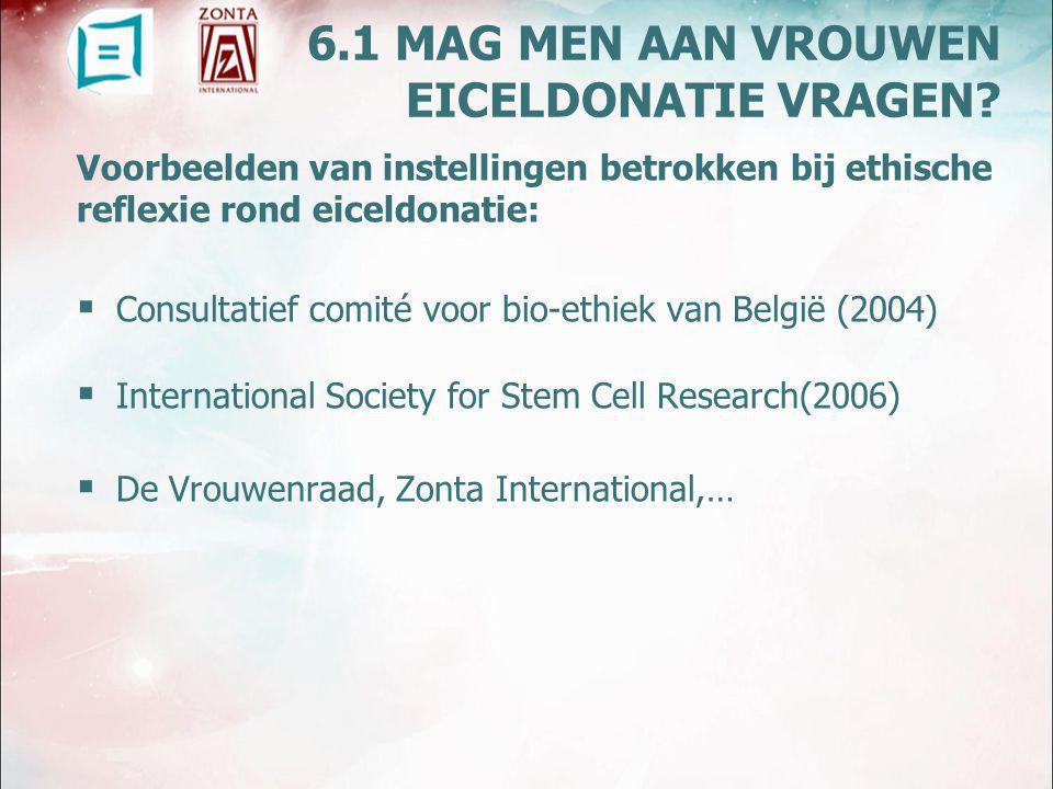Voorbeelden van instellingen betrokken bij ethische reflexie rond eiceldonatie:  Consultatief comité voor bio-ethiek van België (2004)  International Society for Stem Cell Research(2006)  De Vrouwenraad, Zonta International,… 6.1 MAG MEN AAN VROUWEN EICELDONATIE VRAGEN