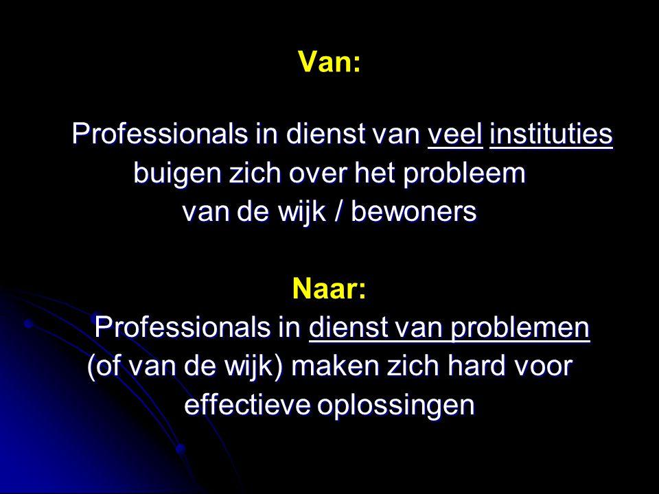 Van: Professionals in dienst van veel instituties buigen zich over het probleem van de wijk / bewoners Naar: Professionals in dienst van problemen (of van de wijk) maken zich hard voor effectieve oplossingen