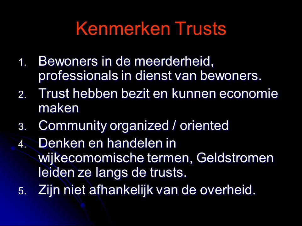 Kenmerken Trusts 1. Bewoners in de meerderheid, professionals in dienst van bewoners.