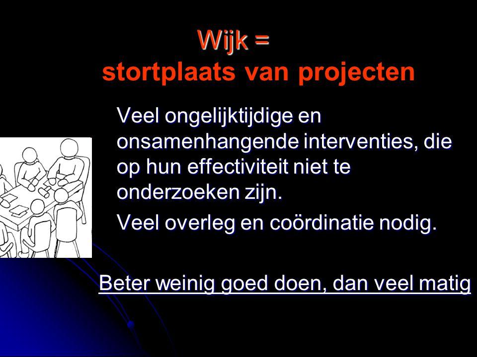 Wijk = Wijk = stortplaats van projecten Veel ongelijktijdige en onsamenhangende interventies, die op hun effectiviteit niet te onderzoeken zijn.