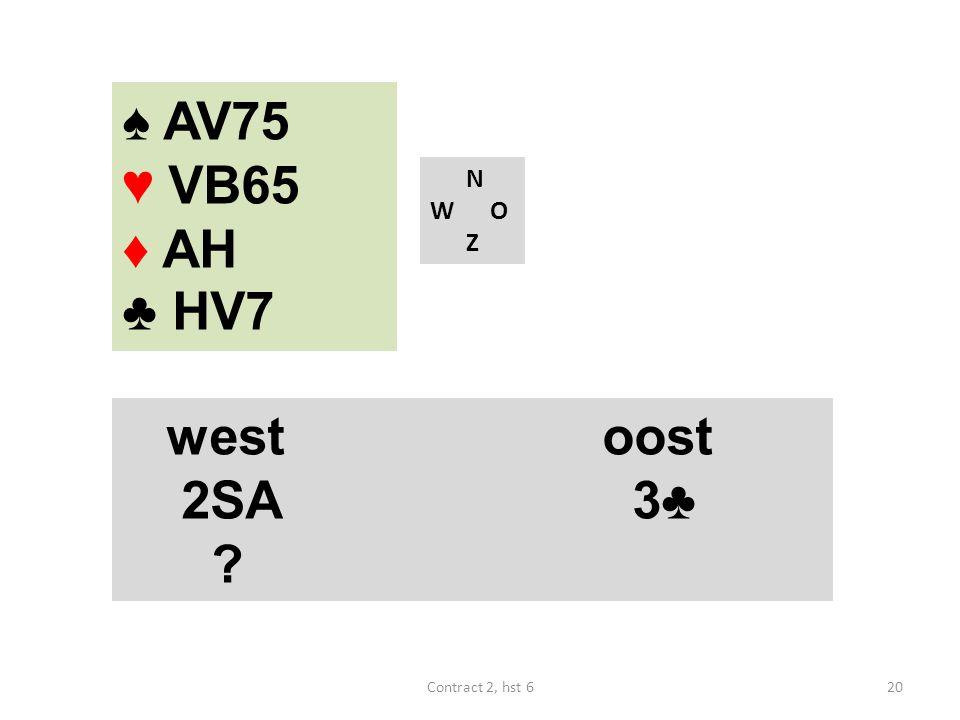 N W O Z westoost 2SA 3♣ ? ♠ AV75 ♥ VB65 ♦ AH ♣ HV7 20Contract 2, hst 6
