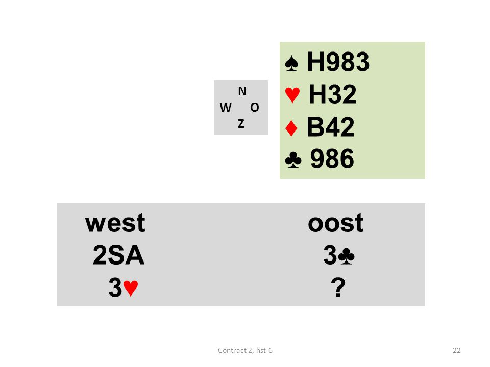 ♠ H983 ♥ H32 ♦ B42 ♣ 986 N W O Z westoost 2SA 3♣ 3♥ ? 22Contract 2, hst 6