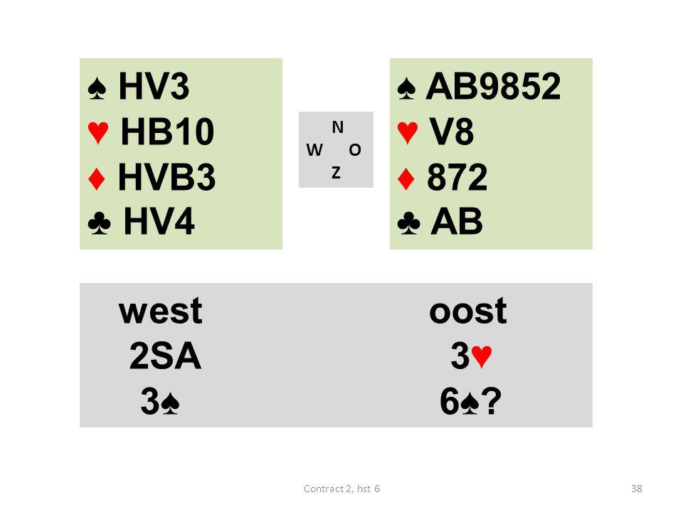 ♠ AB9852 ♥ V8 ♦ 872 ♣ AB N W O Z westoost 2SA 3♥ 3♠ 6♠? 38Contract 2, hst 6 ♠ HV3 ♥ HB10 ♦ HVB3 ♣ HV4