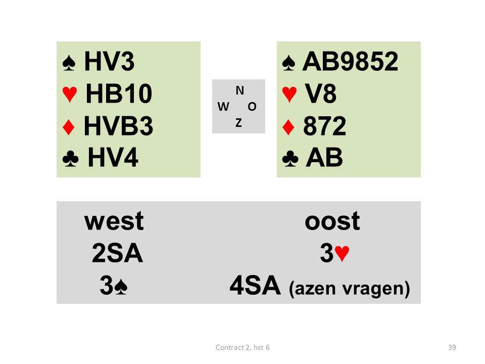 ♠ AB9852 ♥ V8 ♦ 872 ♣ AB N W O Z westoost 2SA 3♥ 3♠ 4SA (azen vragen) 39Contract 2, hst 6 ♠ HV3 ♥ HB10 ♦ HVB3 ♣ HV4