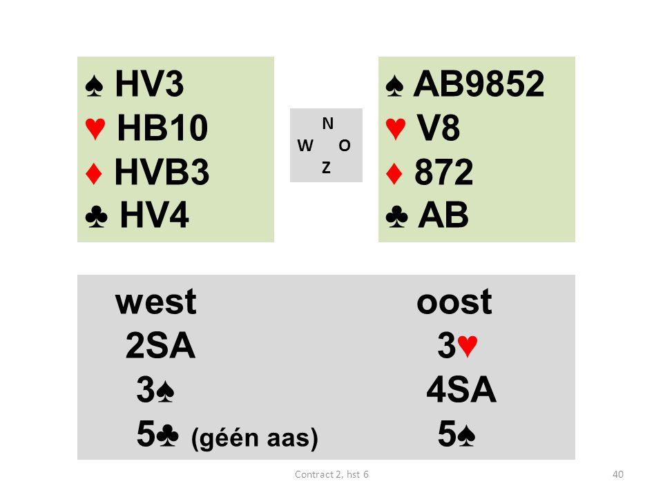♠ AB9852 ♥ V8 ♦ 872 ♣ AB N W O Z westoost 2SA 3♥ 3♠ 4SA 5♣ (géén aas) 5♠ 40Contract 2, hst 6 ♠ HV3 ♥ HB10 ♦ HVB3 ♣ HV4