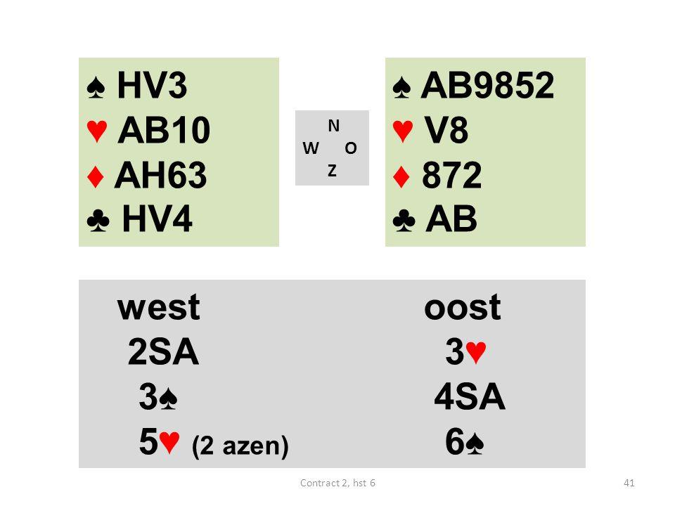 ♠ AB9852 ♥ V8 ♦ 872 ♣ AB N W O Z westoost 2SA 3♥ 3♠ 4SA 5♥ (2 azen) 6♠ 41Contract 2, hst 6 ♠ HV3 ♥ AB10 ♦ AH63 ♣ HV4