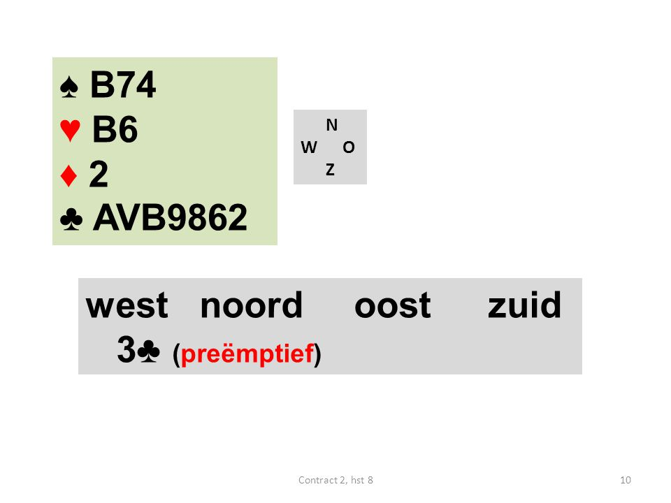 ♠ B74 ♥ B6 ♦ 2 ♣ AVB9862 N W O Z west noordoostzuid 3♣ (preëmptief) 10Contract 2, hst 8