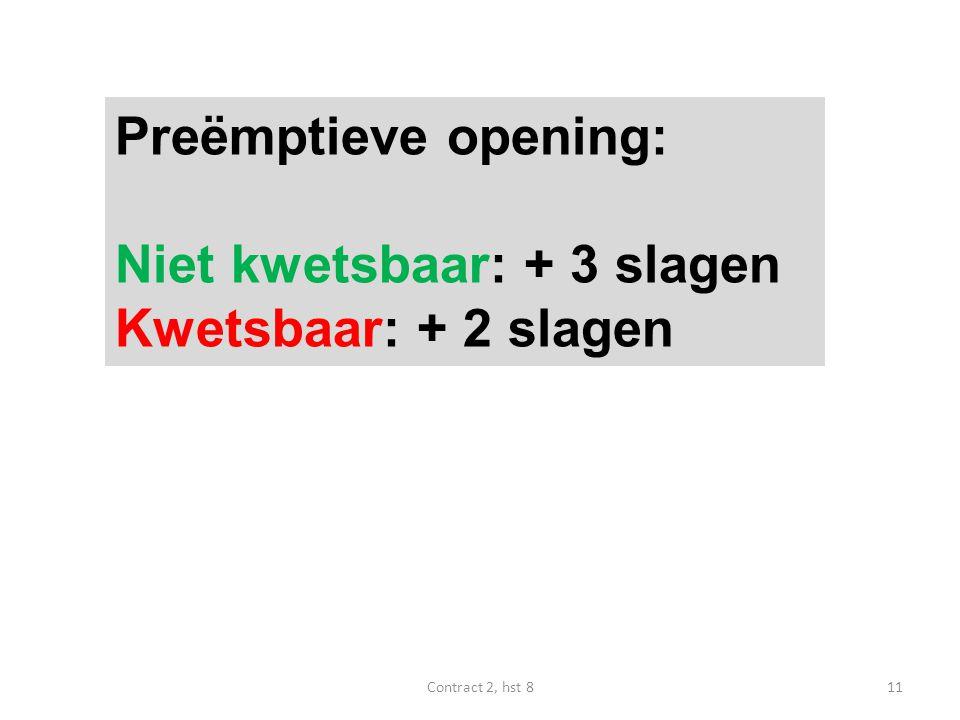 Preëmptieve opening: Niet kwetsbaar: + 3 slagen Kwetsbaar: + 2 slagen 11Contract 2, hst 8