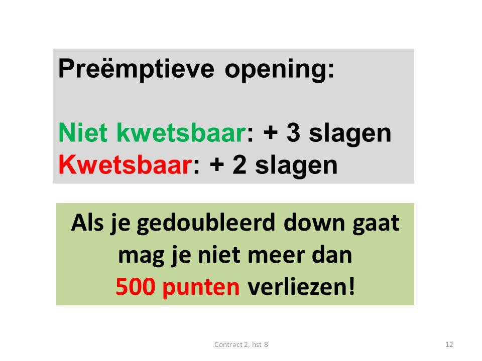Preëmptieve opening: Niet kwetsbaar: + 3 slagen Kwetsbaar: + 2 slagen Als je gedoubleerd down gaat mag je niet meer dan 500 punten verliezen.