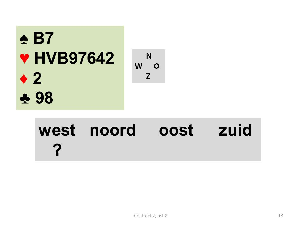 N W O Z west noordoostzuid ? ♠ B7 ♥ HVB97642 ♦ 2 ♣ 98 13Contract 2, hst 8