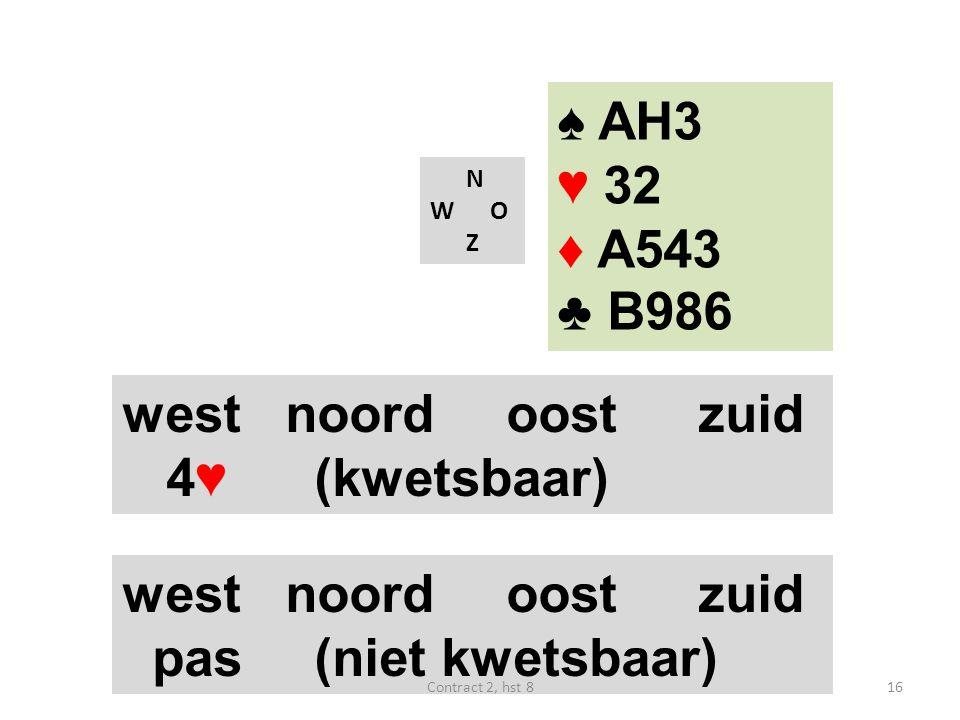N W O Z west noordoostzuid 4♥ (kwetsbaar) west noordoostzuid pas(niet kwetsbaar) ♠ AH3 ♥ 32 ♦ A543 ♣ B986 16Contract 2, hst 8