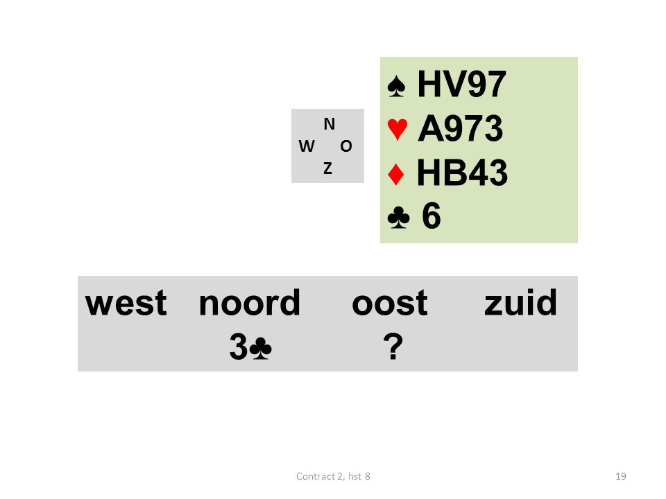N W O Z west noordoostzuid 3♣ ? ♠ HV97 ♥ A973 ♦ HB43 ♣ 6 19Contract 2, hst 8