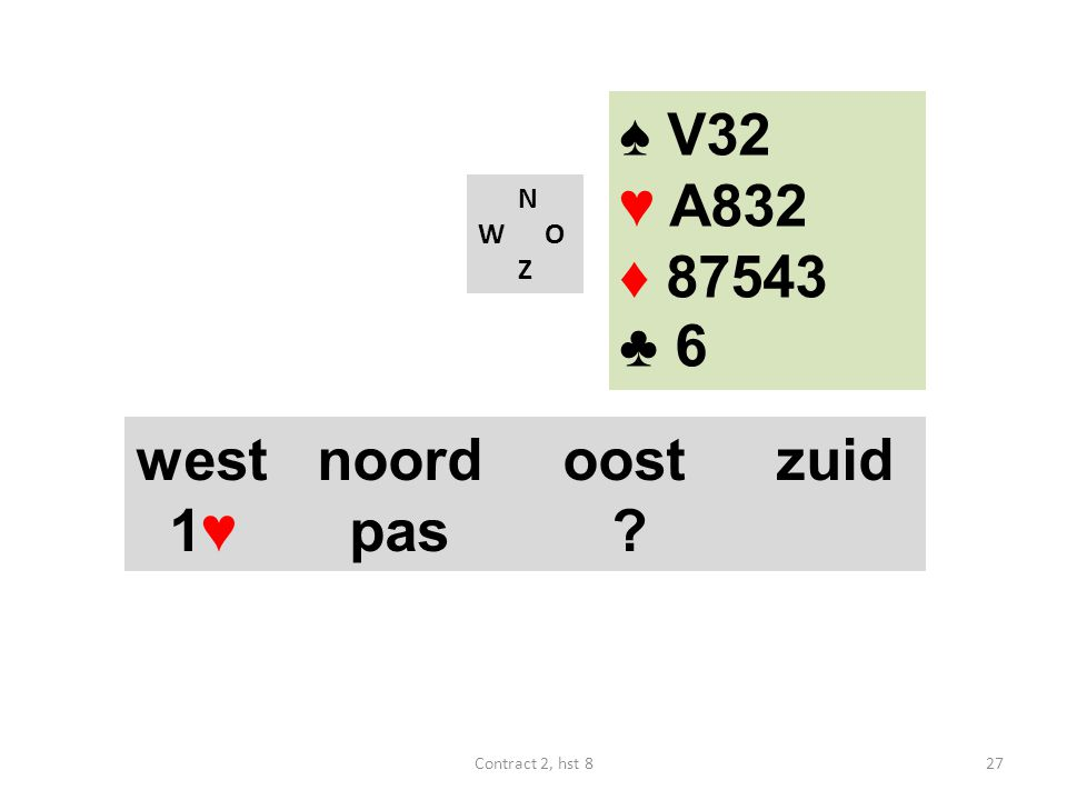 N W O Z west noordoostzuid 1♥ pas ? ♠ V32 ♥ A832 ♦ 87543 ♣ 6 27Contract 2, hst 8