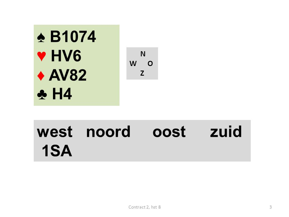 N W O Z west noordoostzuid 1SA 3Contract 2, hst 8 ♠ B1074 ♥ HV6 ♦ AV82 ♣ H4