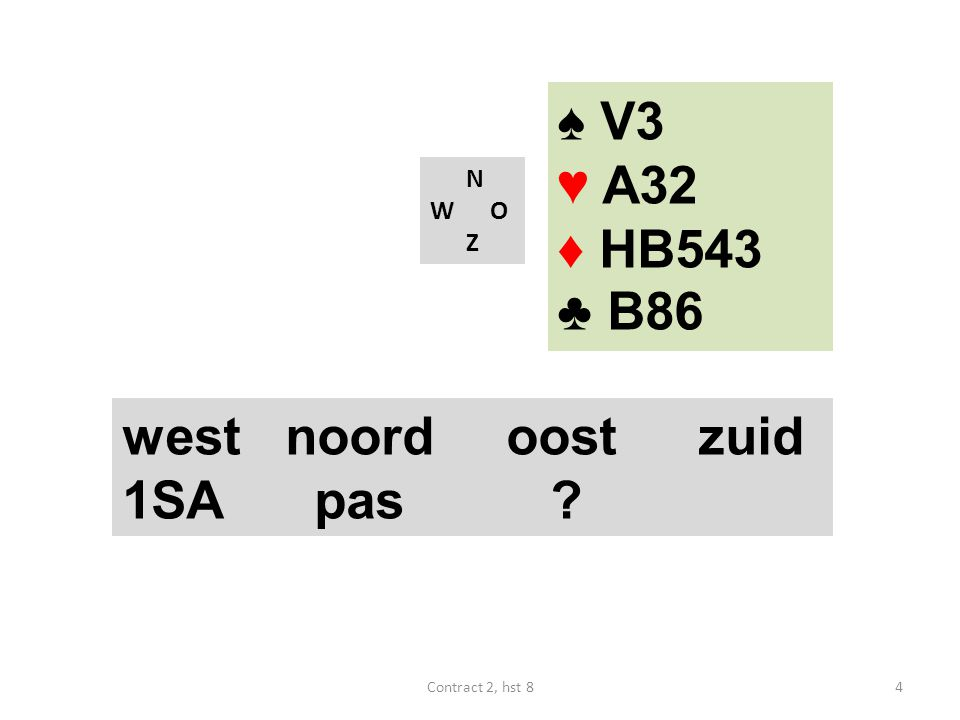N W O Z west noordoostzuid 1SA pas ? ♠ V3 ♥ A32 ♦ HB543 ♣ B86 4Contract 2, hst 8