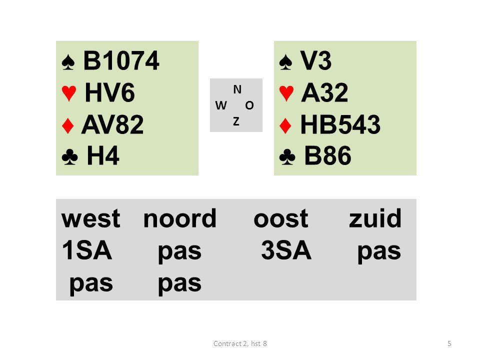 ♠ B1074 ♥ HV6 ♦ AV82 ♣ H4 N W O Z westnoordoostzuid 3♣ ? 6Contract 2, hst 8