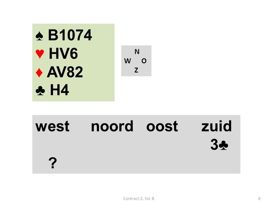 N W O Z west noordoostzuid 1♥ pas ? ♠ V32 ♥ A832 ♦ 87543 ♣ 6 27Contract 2, hst 8