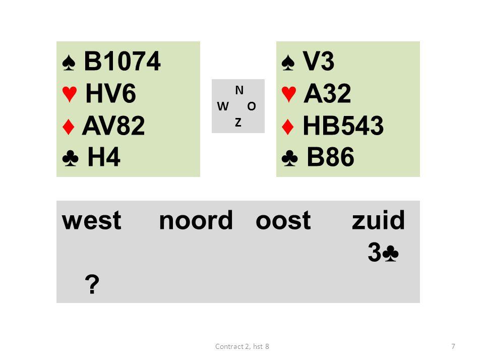 N W O Z west noordoostzuid 3♦ 3♥ (een opening en een goede vijfkaart) ♠ HV7 ♥ AB1093 ♦ HB43 ♣ 6 18Contract 2, hst 8