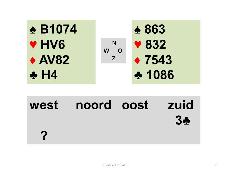 ♠ B74 ♥ B6 ♦ 2 ♣ AVB9862 N W O Z west noordoostzuid ? 9Contract 2, hst 8