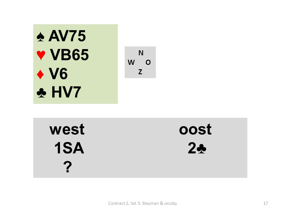 N W O Z westoost 1SA 2♣ ♠ AV75 ♥ VB65 ♦ V6 ♣ HV7 17Contract 2, hst 5. Stayman & Jacoby