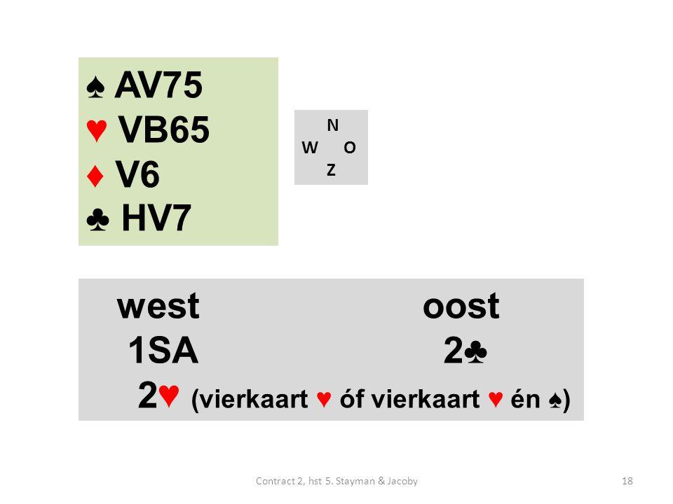 N W O Z westoost 1SA 2♣ 2♥ (vierkaart ♥ óf vierkaart ♥ én ♠) ♠ AV75 ♥ VB65 ♦ V6 ♣ HV7 18Contract 2, hst 5.
