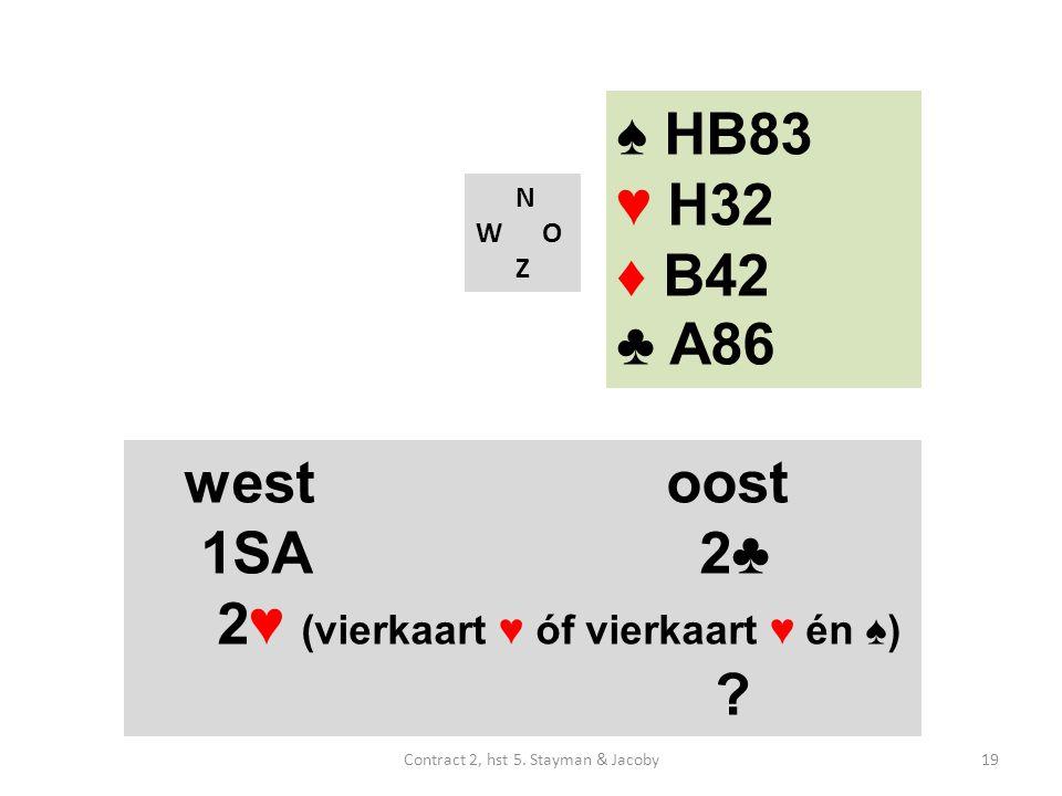 ♠ HB83 ♥ H32 ♦ B42 ♣ A86 N W O Z westoost 1SA 2♣ 2♥ (vierkaart ♥ óf vierkaart ♥ én ♠) .