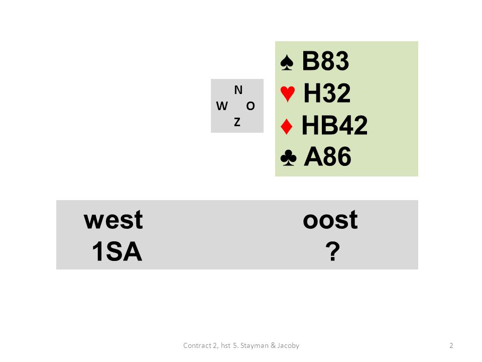 ♠ B83 ♥ H32 ♦ HB42 ♣ A86 N W O Z westoost 1SA 2Contract 2, hst 5. Stayman & Jacoby