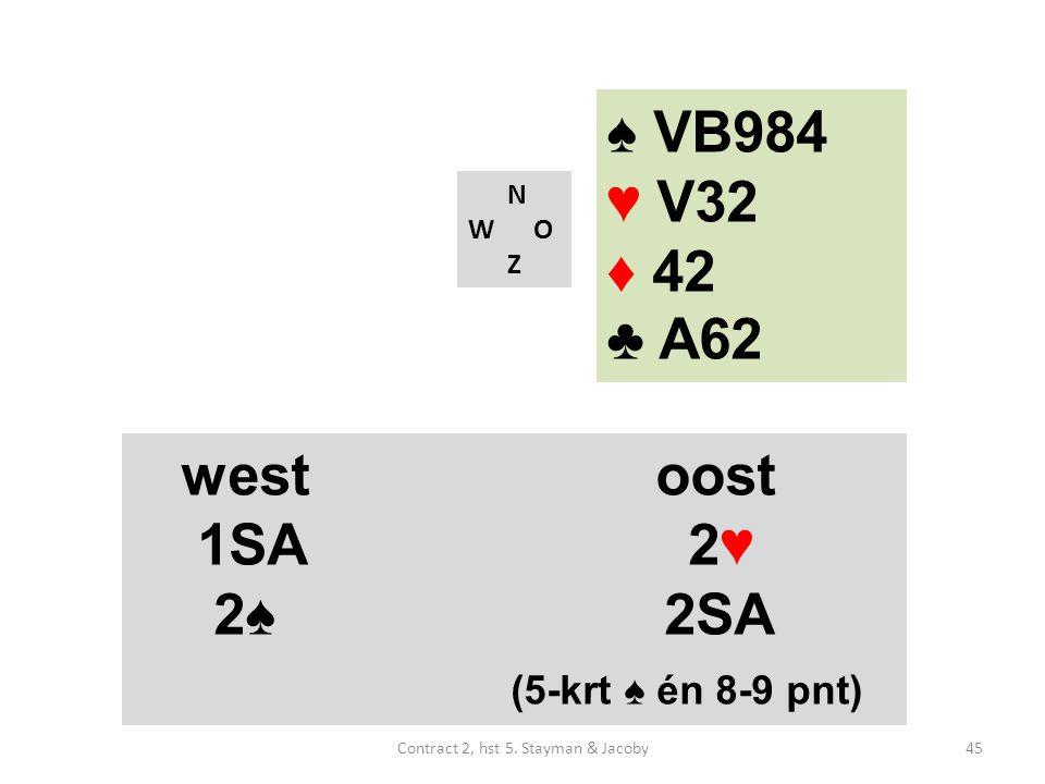 ♠ VB984 ♥ V32 ♦ 42 ♣ A62 N W O Z westoost 1SA 2♥ 2♠ 2SA (5-krt ♠ én 8-9 pnt) 45Contract 2, hst 5.
