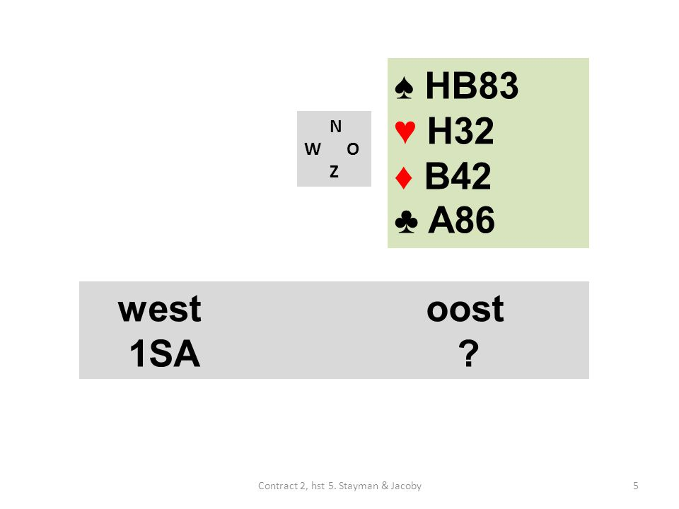♠ HB83 ♥ H32 ♦ B42 ♣ A86 N W O Z westoost 1SA 5Contract 2, hst 5. Stayman & Jacoby