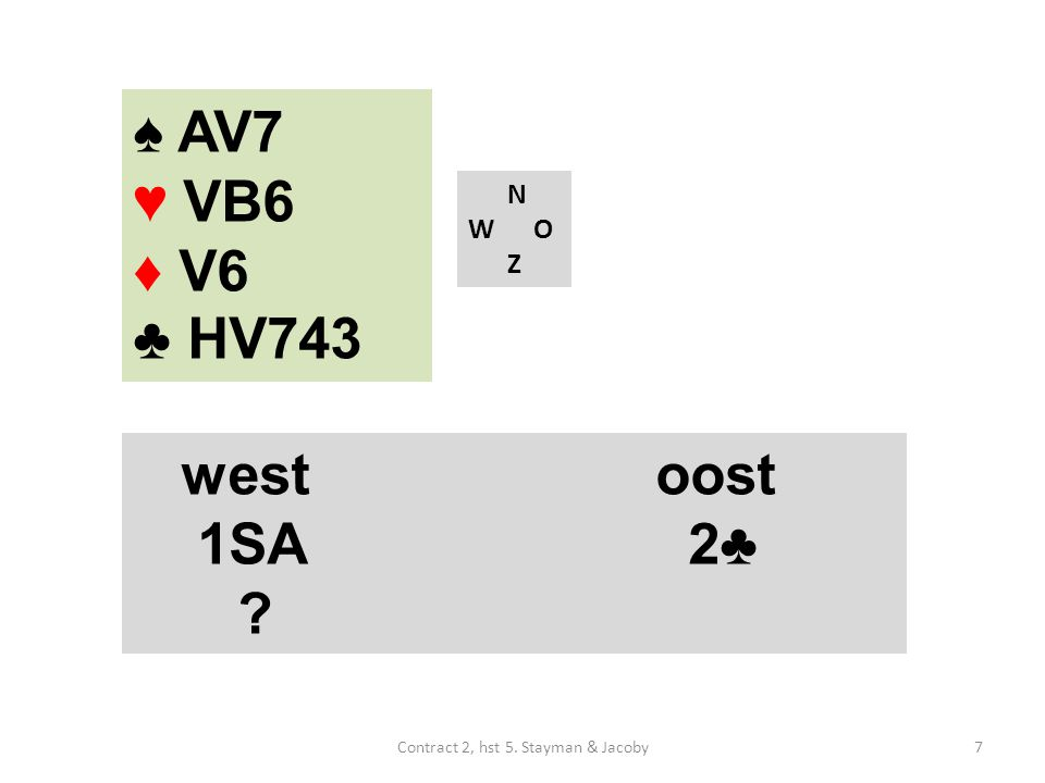 N W O Z westoost 1SA 2♣ ♠ AV7 ♥ VB6 ♦ V6 ♣ HV743 7Contract 2, hst 5. Stayman & Jacoby
