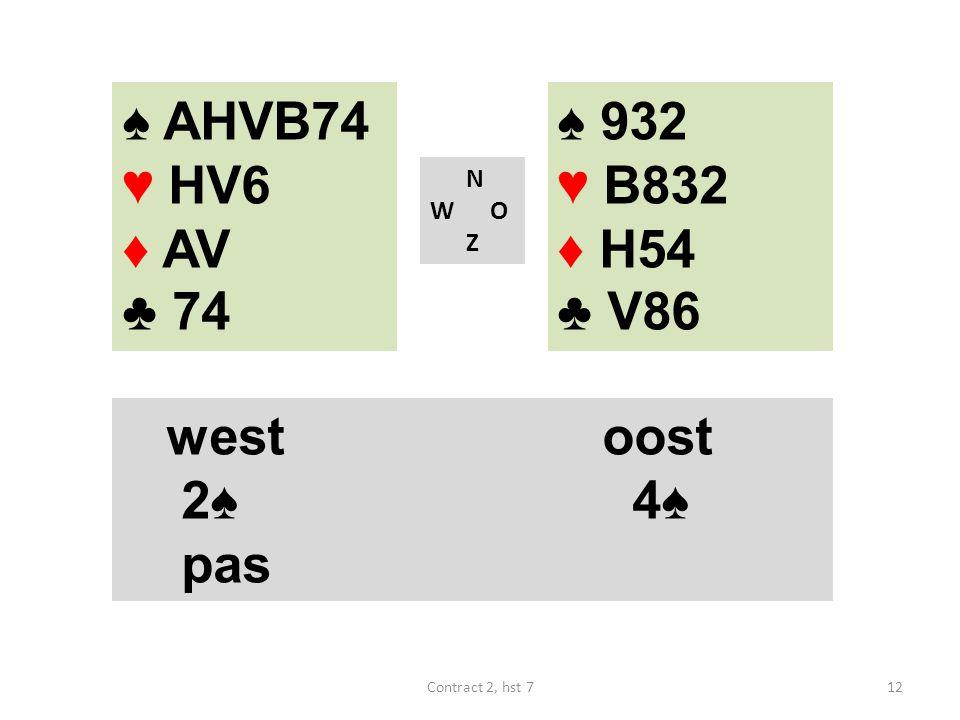 ♠ 932 ♥ B832 ♦ H54 ♣ V86 N W O Z westoost 2♠ 4♠ pas ♠ AHVB74 ♥ HV6 ♦ AV ♣ 74 12Contract 2, hst 7