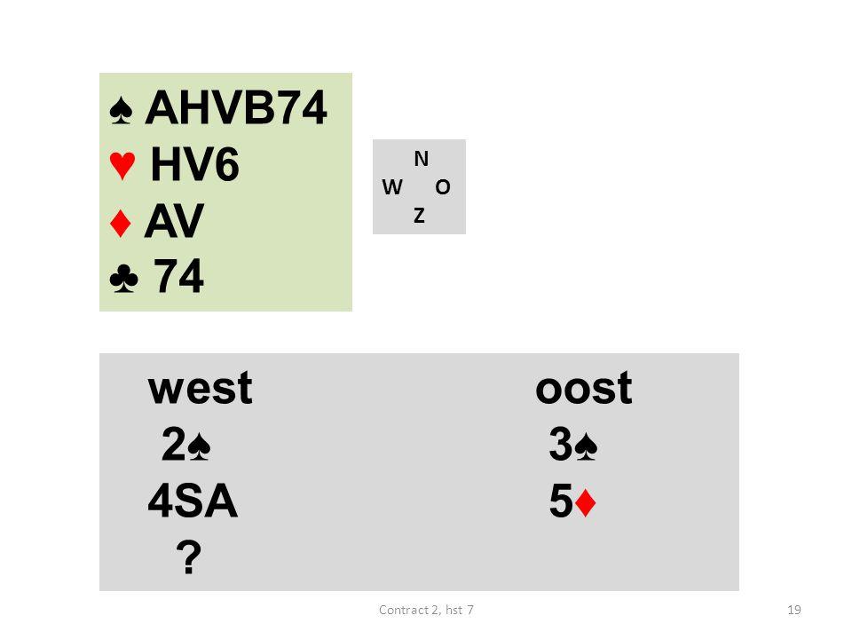 N W O Z westoost 2♠ 3♠ 4SA 5♦ ♠ AHVB74 ♥ HV6 ♦ AV ♣ 74 19Contract 2, hst 7
