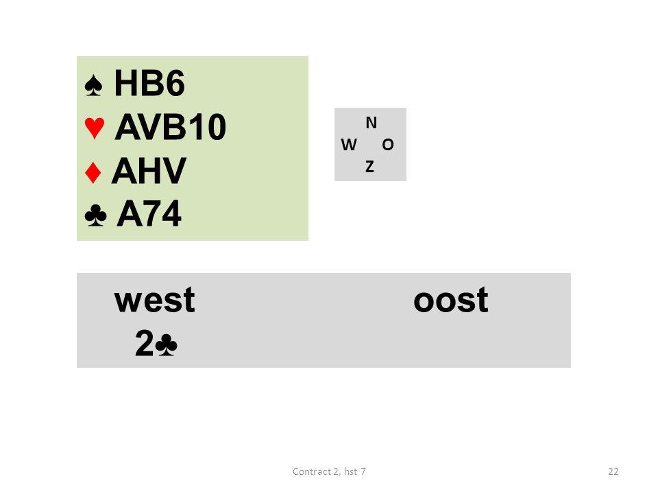 ♠ HB6 ♥ AVB10 ♦ AHV ♣ A74 N W O Z westoost 2♣ 22Contract 2, hst 7