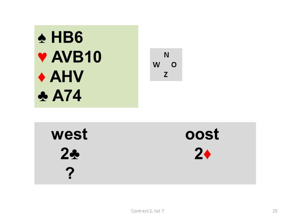 ♠ HB6 ♥ AVB10 ♦ AHV ♣ A74 N W O Z westoost 2♣ 2♦ 25Contract 2, hst 7