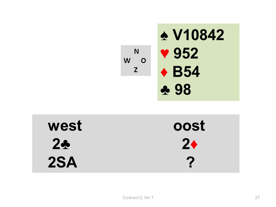 ♠ V10842 ♥ 952 ♦ B54 ♣ 98 N W O Z westoost 2♣ 2♦ 2SA ? 27Contract 2, hst 7
