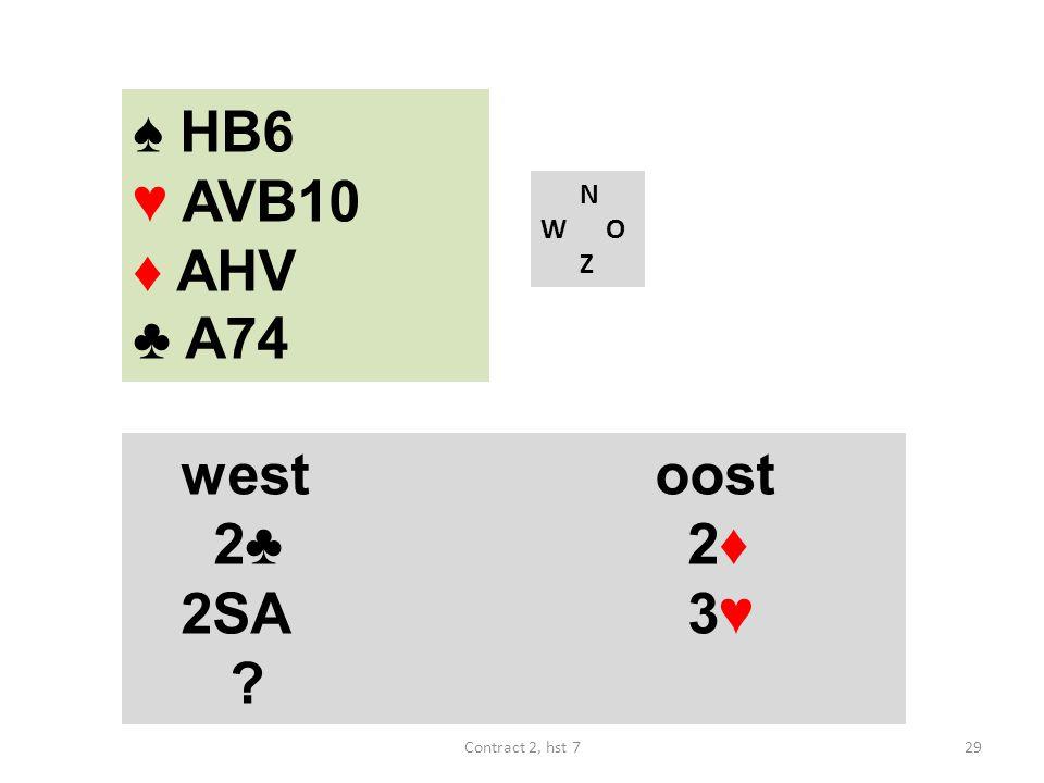 ♠ HB6 ♥ AVB10 ♦ AHV ♣ A74 N W O Z westoost 2♣ 2♦ 2SA 3♥ 29Contract 2, hst 7