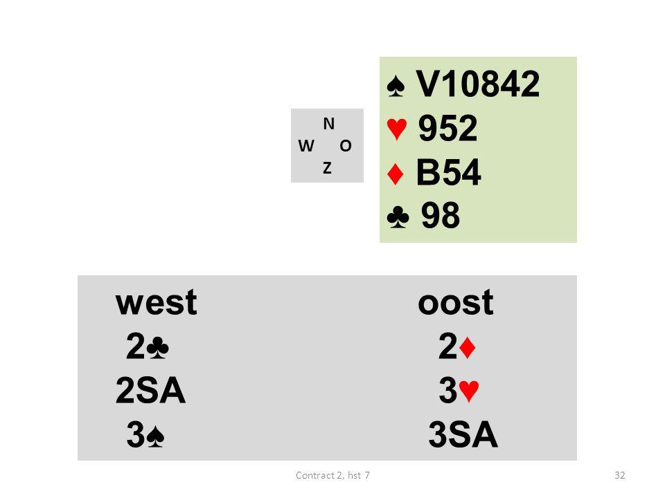 ♠ V10842 ♥ 952 ♦ B54 ♣ 98 N W O Z westoost 2♣ 2♦ 2SA 3♥ 3♠ 3SA 32Contract 2, hst 7