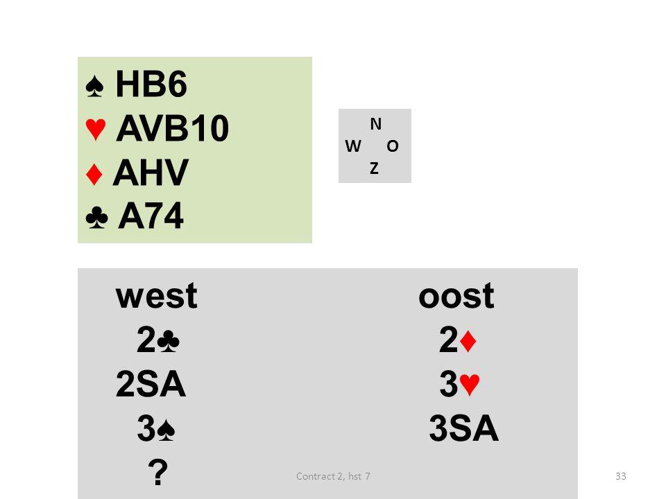 ♠ HB6 ♥ AVB10 ♦ AHV ♣ A74 N W O Z westoost 2♣ 2♦ 2SA 3♥ 3♠ 3SA 33Contract 2, hst 7