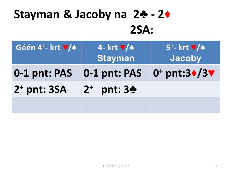 Stayman & Jacoby na 2 ♣ - 2 ♦ 2SA: Géén 4 + - krt ♥ / ♠ 4- krt ♥ / ♠ Stayman 5 + - krt ♥ / ♠ Jacoby 0-1 pnt: PAS 0 + pnt:3 ♦ /3 ♥ 2 + pnt: 3SA2 + pnt: 3 ♣ 36Contract 2, hst 7