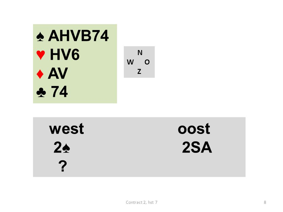 ♠ HB6 ♥ AVB10 ♦ AHV ♣ A74 N W O Z westoost 2♣ 2♦ 2SA 3♥ ? 29Contract 2, hst 7