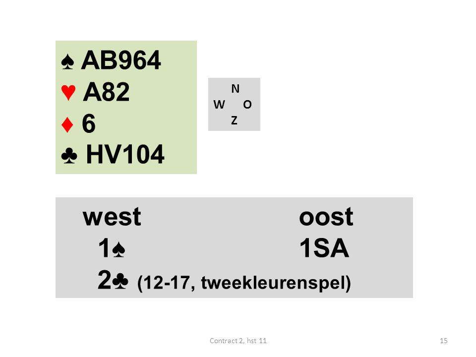 ♠ AB964 ♥ A82 ♦ 6 ♣ HV104 N W O Z westoost 1♠ 1SA 4♠ (18-19) westoost 1♠ 1SA 2♣ (12-17, tweekleurenspel) 15Contract 2, hst 11