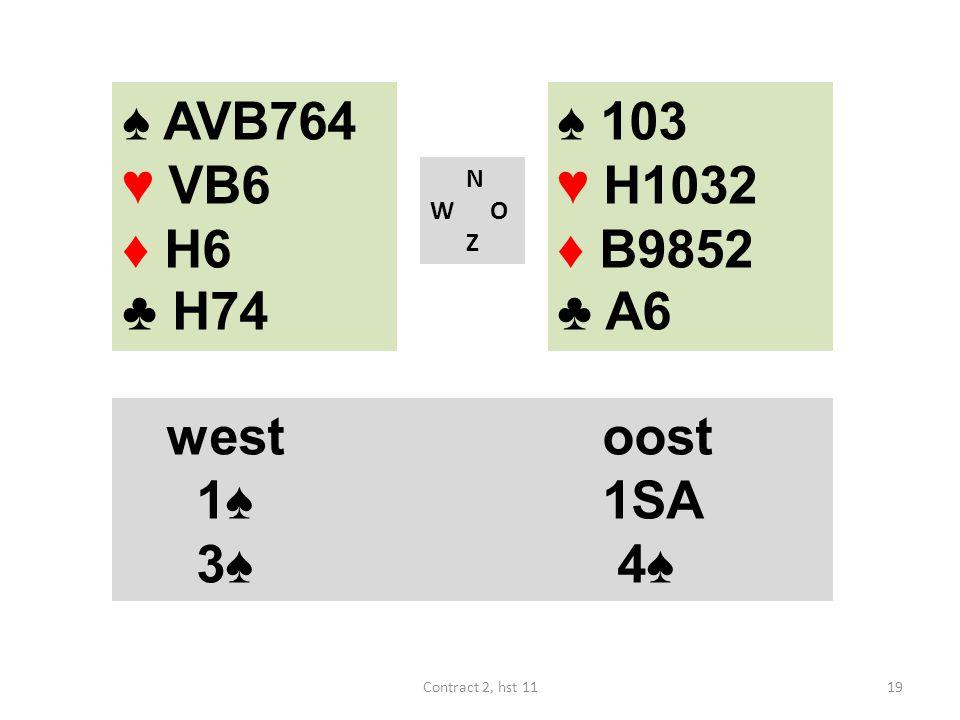 ♠ AVB764 ♥ VB6 ♦ H6 ♣ H74 N W O Z westoost 1♠ 1SA 3♠ 4♠ 19Contract 2, hst 11 ♠ 103 ♥ H1032 ♦ B9852 ♣ A6