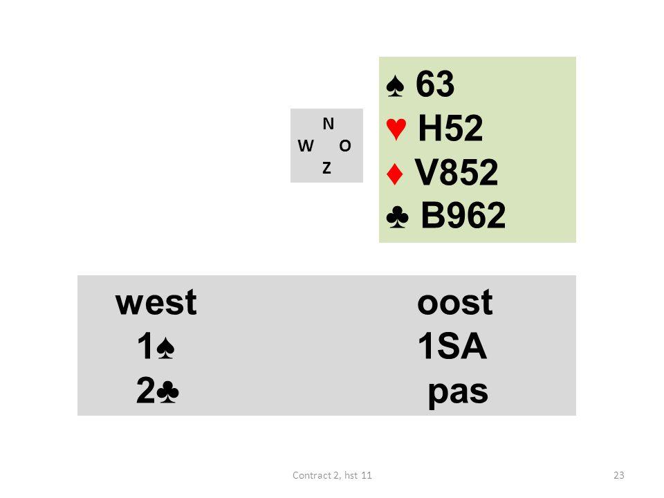 N W O Z westoost 1♠ 1SA 4♠ (18-19) westoost 1♠ 1SA 2♣ pas 23Contract 2, hst 11 ♠ 63 ♥ H52 ♦ V852 ♣ B962