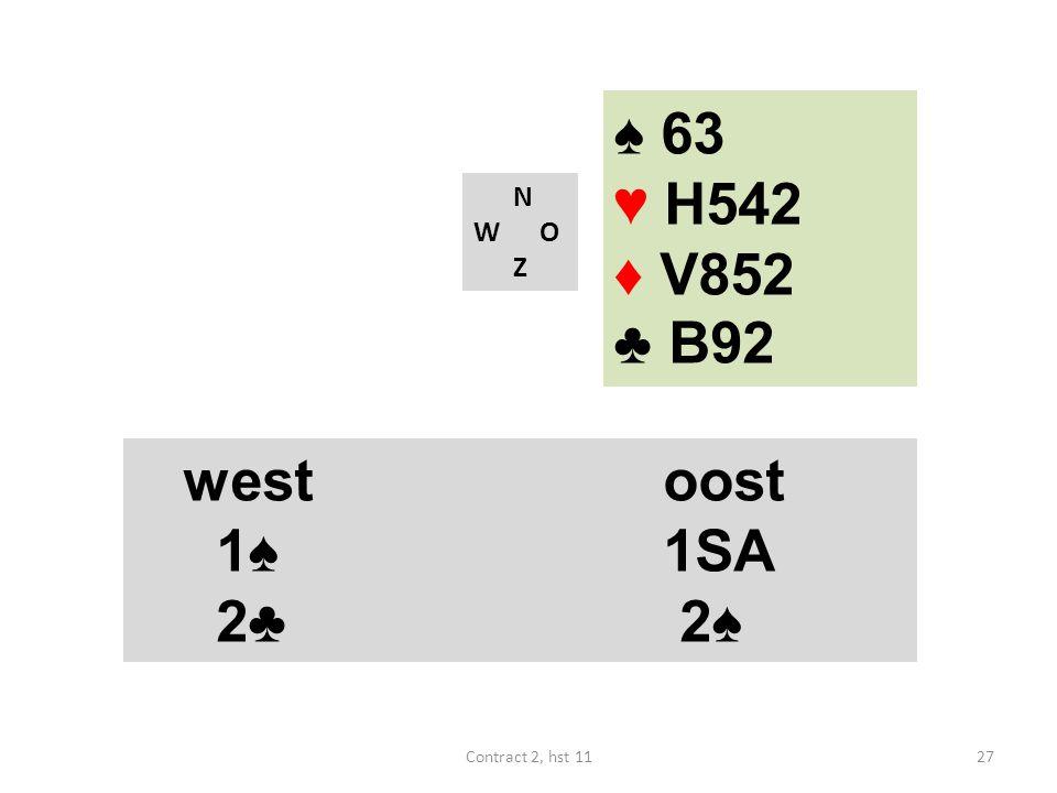 N W O Z westoost 1♠ 1SA 4♠ (18-19) westoost 1♠ 1SA 2♣ 2♠ 27Contract 2, hst 11 ♠ 63 ♥ H542 ♦ V852 ♣ B92