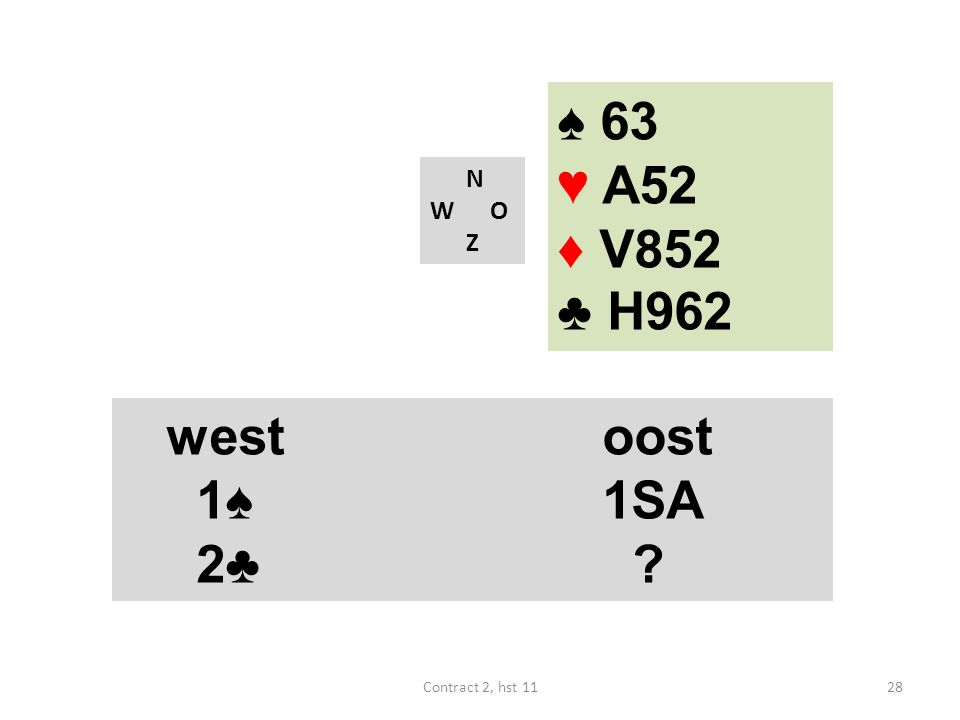 N W O Z westoost 1♠ 1SA 4♠ (18-19) westoost 1♠ 1SA 2♣ .