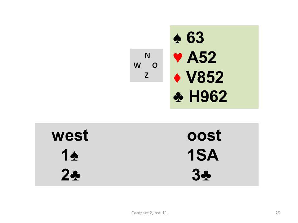 N W O Z westoost 1♠ 1SA 4♠ (18-19) westoost 1♠ 1SA 2♣ 3♣ 29Contract 2, hst 11 ♠ 63 ♥ A52 ♦ V852 ♣ H962