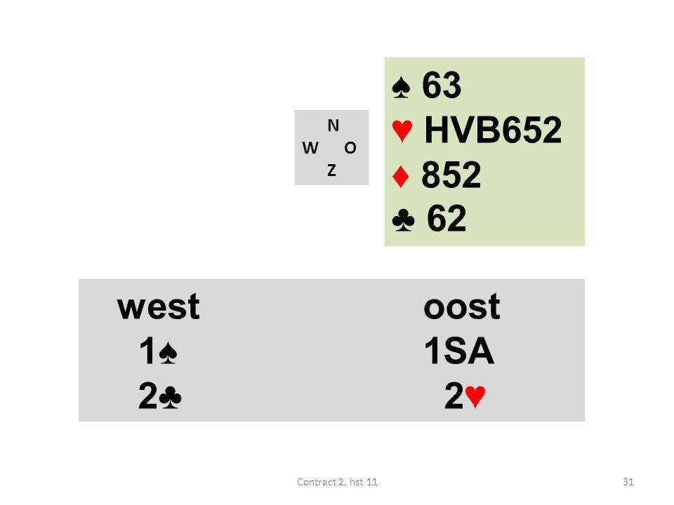 N W O Z westoost 1♠ 1SA 4♠ (18-19) westoost 1♠ 1SA 2♣ 2♥ 31Contract 2, hst 11 ♠ 63 ♥ HVB652 ♦ 852 ♣ 62