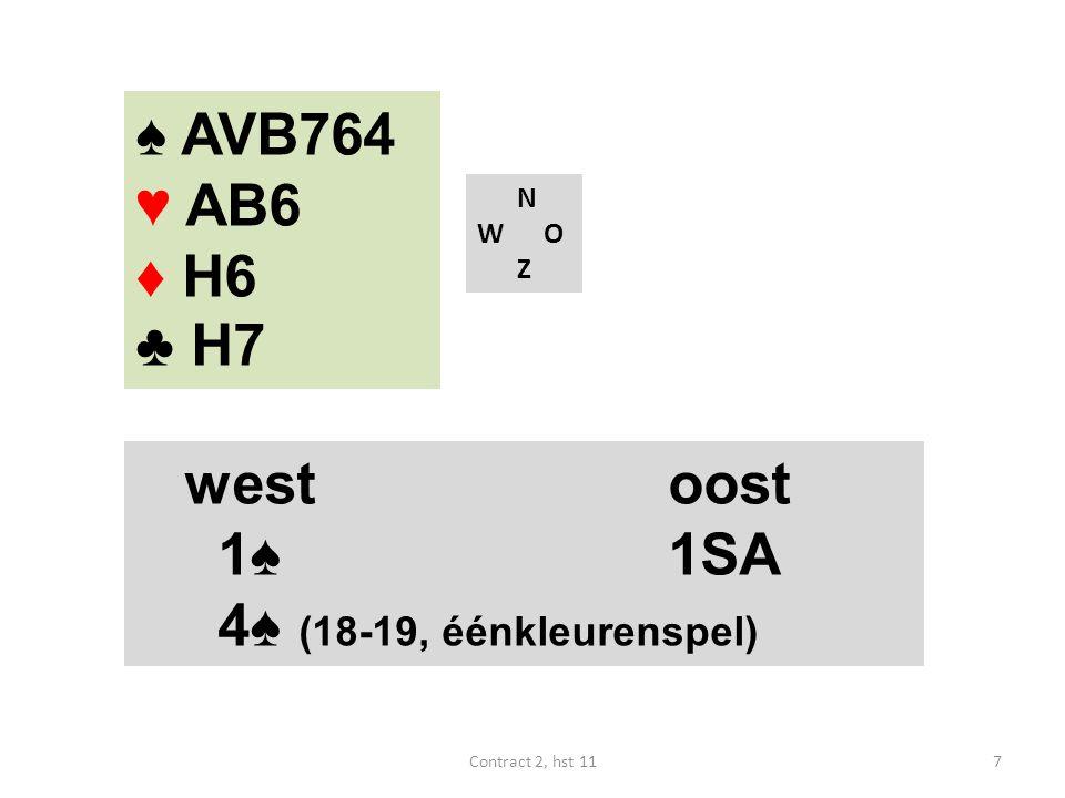 ♠ AVB764 ♥ AB6 ♦ H6 ♣ H7 N W O Z westoost 1♠ 1SA 4♠ (18-19, éénkleurenspel) 7Contract 2, hst 11