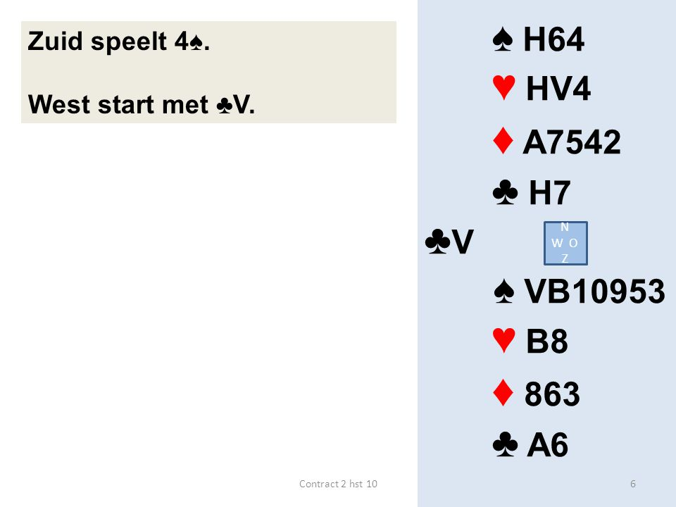 ♠ H64 ♥ HV4 ♦ A7542 ♣ H7 ♣ V ♠ VB10953 ♥ B8 ♦ 863 ♣ A6 Zuid speelt 4♠. West start met ♣V. N W O Z 6Contract 2 hst 10