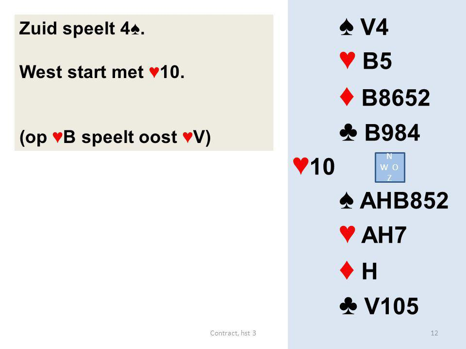 ♠ V4 ♥ B5 ♦ B8652 ♣ B984 ♥ 10 ♠ AHB852 ♥ AH7 ♦ H ♣ V105 Zuid speelt 4♠. West start met ♥10. (op ♥B speelt oost ♥V) N W O Z 12Contract, hst 3